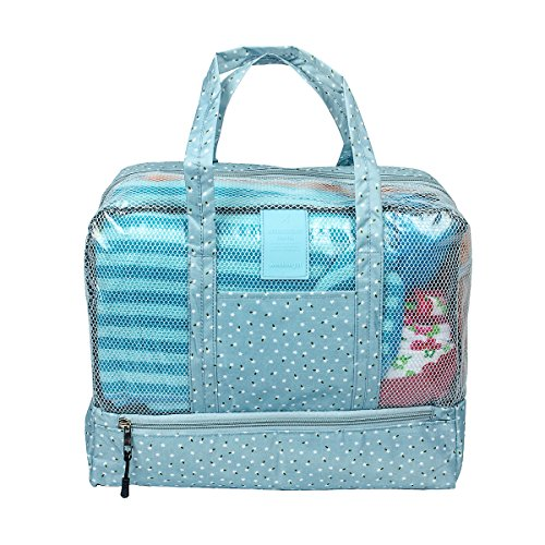 Fency Beach Bag Dry Wet Separate Waterproof Swimming Storage Handbag Zipper Tote (Blue (Wedding Lilly Flowers Favor)