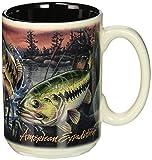 Wildlife Collage Series 15oz Stoneware Coffee Mug (Largemouth Bass)