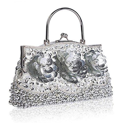 Cocktail Beaded Chain Unique Party Handbag Bag Bag Sequins Purse Evening Women Grey Yeahii Clutch 5Aq8T