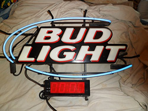 Bud Light Neon Sign With Clock 29