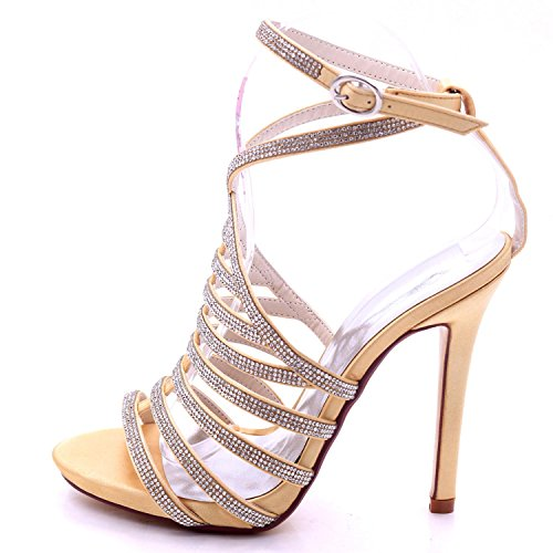 Peep 7216 Boda Summer Party 04a Golden De Dama Las Honor High Mujeres Sandalias Heel L yc Rhinestones 4q0BII