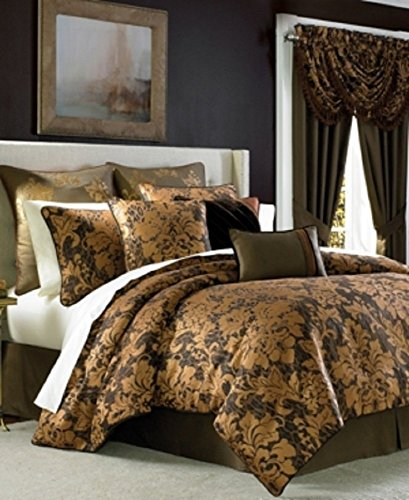 Croscill Monique Queen Comforter Set, Euro Shams, 6 Pieces Set, Gold ()