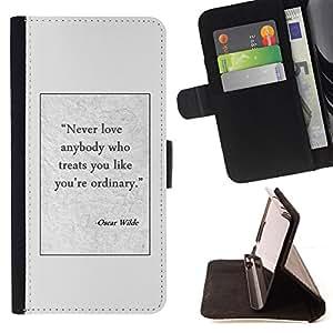 BullDog Case - FOR/Samsung Galaxy Note 4 IV / - / Oscar wilde writer quote poster text /- Monedero de cuero de la PU Llevar cubierta de la caja con el ID Credit Card Slots Flip funda de cuer