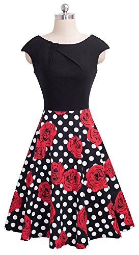Dress Classy Vintage Swing dots Red Flower 1950s VELJIE Women's Rockabilly Black KTqypBcaPH