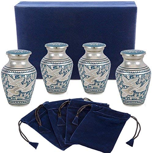 Keepsake Love - Wings of Love Mini Keepsake Urns for Human Ashes - Set of 4 - Beautiful and Timeless Find Comfort Everytime You Look at These Small High Quality Cremation Urns - with Velvet Case and 4 Velvet Bags