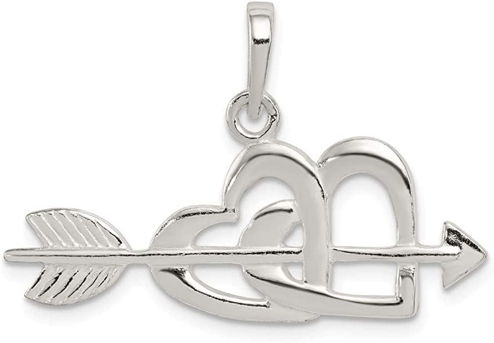 925 Sterling Silver Polished Heart and Arrow Charm Pendant