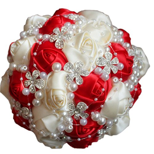 - S-SSOY Wedding Bouquet Bride Bridal Brooch Bouquets Bridesmaid Bouquet Diamond Pearl Ribbon Valentine's Day Confession Party Church with Free Corsage Flower, Red+Creamy