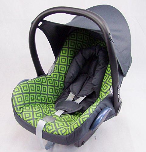 Babys-Dreams Ersatzbezug für Maxi-Cosi CabrioFix 6 tlg. DUNKELGRAU + GRÜNE KAROS *NEU* Bezug für Babyschale Sommerbezug Cabrio Fix