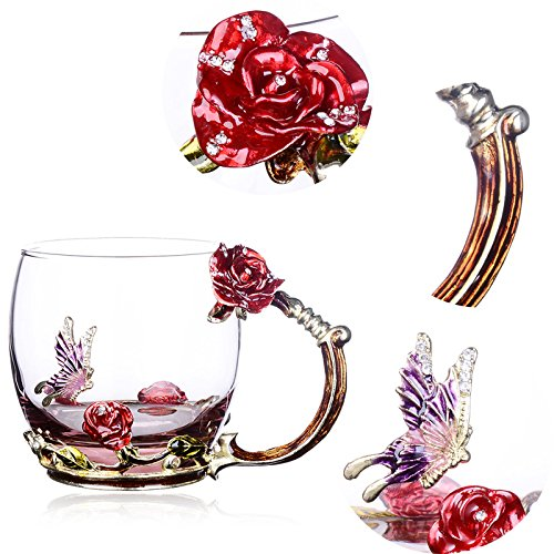 NBWUYUE Mother's Day Gifts For Mom Tea Cup Coffee Mug Cups Clear Glass With Spoon Set Unique Rose Flower Enamel Design Valentine's Day Birthday Decoration Wedding Gift