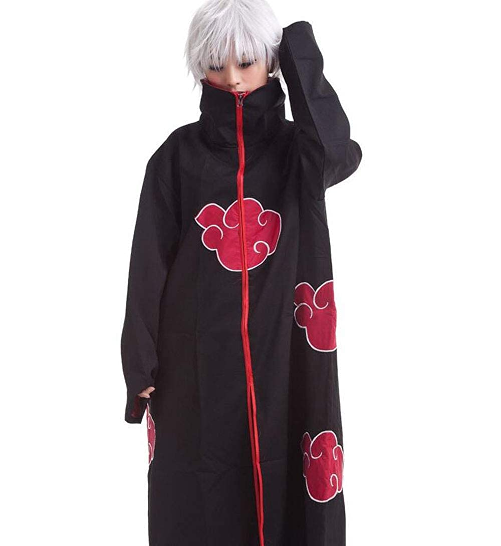 Anime Naruto Akatsuki//Uchiha Itachi Cosplay Halloween Christmas Party Costume Cloak Cape with Headband Necklace Ring