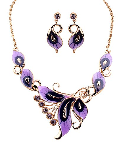 - Grenf Fashion Prom Wedding Bridal Jewelry Sets Exotic Multi-Colored Enamel Flower Bib Choker Necklace with Stud Earring 5 Colors (Purple)