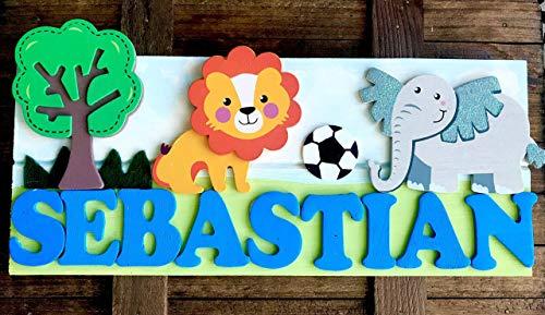 (Jungle Safari Theme Personalized Kids Door Sign; Custom Name Plate)