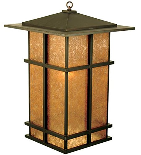 Silver Mica Shade - Meyda Custom Lighting 68914 Tea House 1-Light Lantern Pendant, Craftsman Brown Finish with Silver Mica Shade