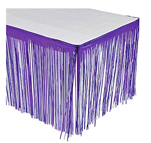 GIFTEXPRESS Metallic Purple Foil Fringe Table Skirts/Tinsel Foil Table Skirt/Party Table Skirt (Purple, 2-pack)