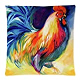 Colorful Rooster Art Throw Pillow Case Zippered Cushion Cover/Case Pillowcase Home Sofa Decorative 18 X 18 Inch(Twin Sides)