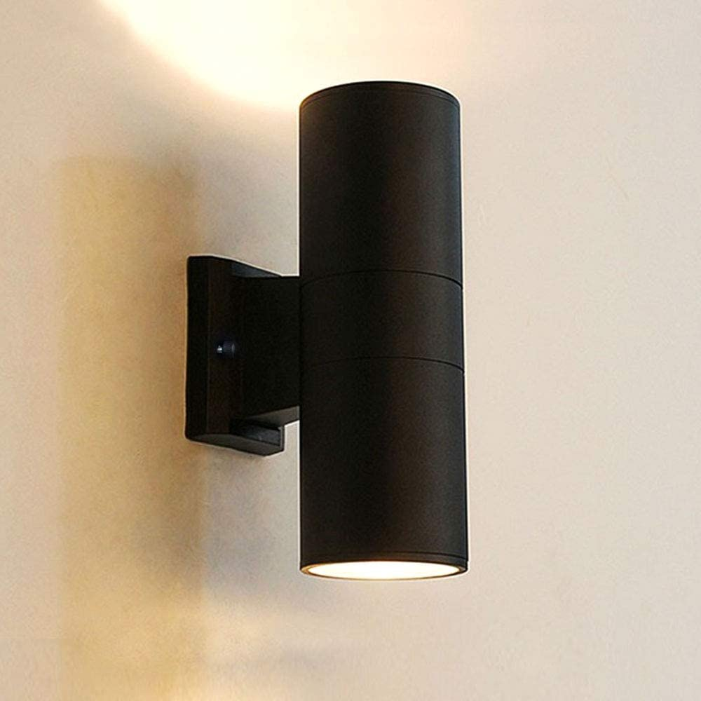 Modern Outdoor Wall Sconce Porch Light, Up and Down Light with Aluminum of Matte Black Finish and Tempered Glass Cover, Exterior Waterproof Wall Mount Cylinder Light Fixture (4.2511.81 inch)