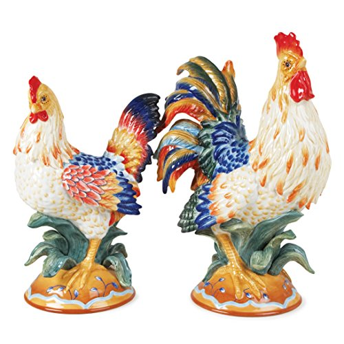Fitz and Floyd Ricamo Rooster & Hen Figurines, Pair, Multi, 2 Piece