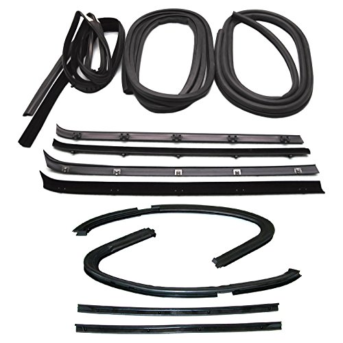 Make Auto Parts Manufacturing Set of 12 Left and Right Side Factory Finish Door Weatherstrip Rubber Seal Kit Rubber For Chevrolet C10 1979-1980 / GMC C1500 1979-1980