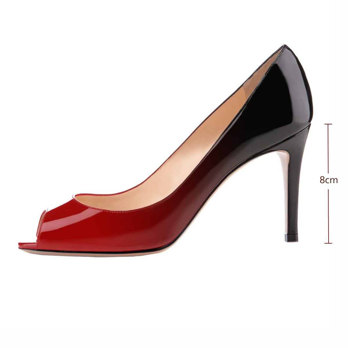 Eldof Women Peep Toe Pumps Mid-Heel Pumps Formal Wedding Bridal Classic Heel Open Toe Stiletto B07F8M2B3V 10.5 B(M) US|Red-black