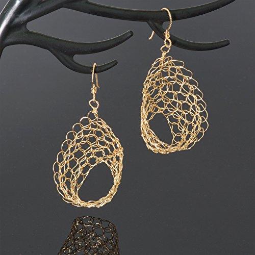 14k Gold Filled 3D Filigree Earrings Handmade Unique Statement Lace Wire Crochet (14k Gold 3d Filigree)