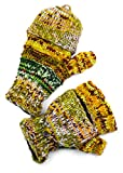 TCG Men's Hand Knit Wool Striped Glittens - Multi-Earthy Colors
