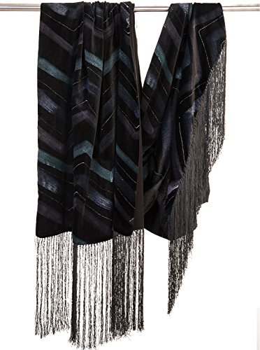 Elizabetta Fringed Black Silk Velvet Evening Wrap Shawl - Made in Italy