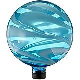 Gardener Select Glass Gazing Globe, 10-Inch, Blue and White Swirl
