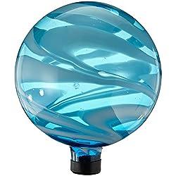 "Gardener's Select A14BFG05 Glass Gazing Globe, Blue and White Swirl, 10"""