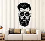 Vinyl Wall Decal Day Of Dead Mexican Mask Man Tradition Stickers Large Decor (2201ig) Black