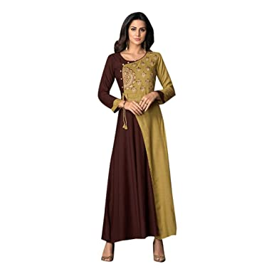c62f1853f2 Brown Indian Designer Ready to wear Fashionable Rayon Gown Long Maxi ...
