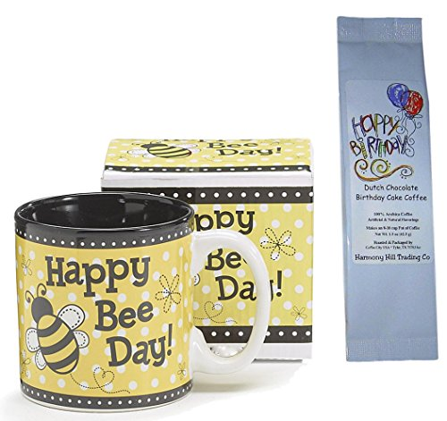 Happy Gift Birthday Set (Birthday Bday Bee Day Coffee Mug and Coffee Gift Set - Happy Bee Day Mug with Happy Birthday Dutch Chocolate Birthday Cake Coffee Gift Set 2 Item Bundle)