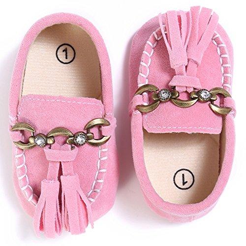 Etrack-Online Baby Loafers - Zapatos primeros pasos para niño Rosa