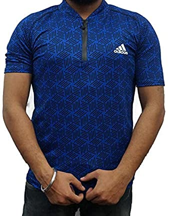 1386f7adb0783f SMENTER Zipper Lycra Half Sleeves Chinese Collar Blue T-Shirt (Air Jordan)  Lycra and DRI-FIt Gym Wear T Shirt  Amazon.in  Clothing   Accessories