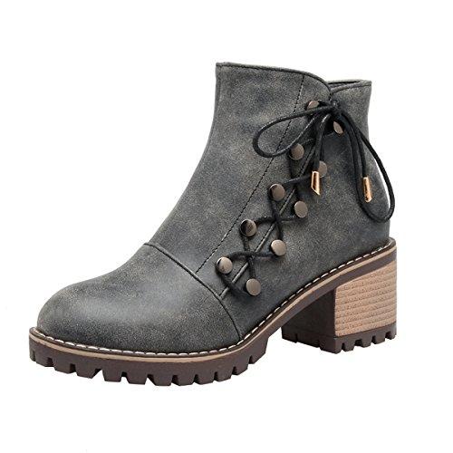 YE Damen Chunky Heels Ankle Boots Stiefeletten High Heels mit Reißverschluss und Nieten Schnürung Blockabsatz 6cm Elegant Schuhe Grau
