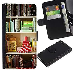 iBinBang / Flip Funda de Cuero Case Cover - Plataforma de Lectura Teach School Library - Apple Iphone 5 / 5S