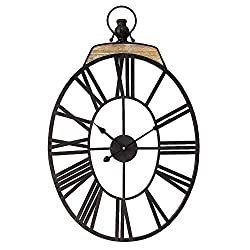 Oversized Dark Oval Metal Wall Clock with Handle Vintage Wall Clock Decorative for Home Decor 18 x 28 Inch