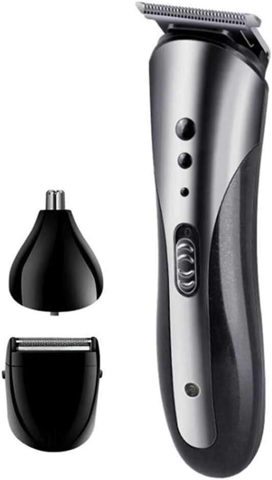 Yuyanshop Cortadora eléctrica de pelo para hombre, con cuchilla de cerámica recargable por USB, silenciosa y sin cable, con 4 peines de fijación, para el hogar, barbería, salón