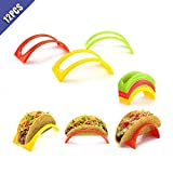 Ximimark 12 pcs Colorful Taco Holder Stand For Soft & Hard Shell Taco Microwave Safe