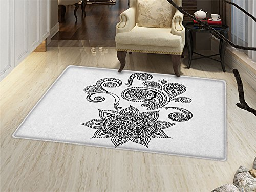 - smallbeefly Henna Door Mats for home Flowers and Paisley Doodle Tattoo Pattern Islam Culture Inspiration Monochrome Image Bath Mat Bathroom Mat with Non Slip Black White