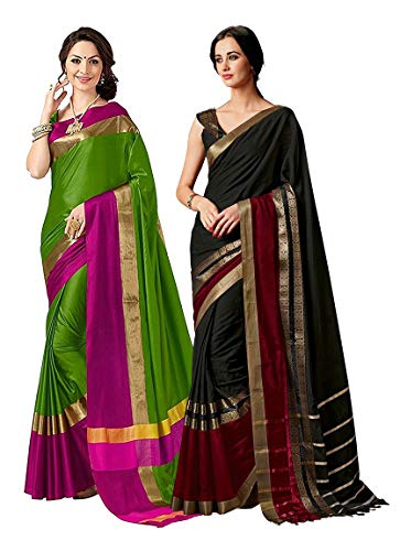ELINA FASHION Pack of Two Sarees for Indian Women Cotton Art Silk Printed Weaving Border Saree (Multi 1)
