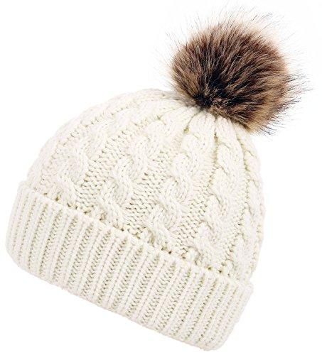 EPGM Men & Womens Winter Cable Knit Faux Fur Pom Pom Foldable Cuff Beanie Hat