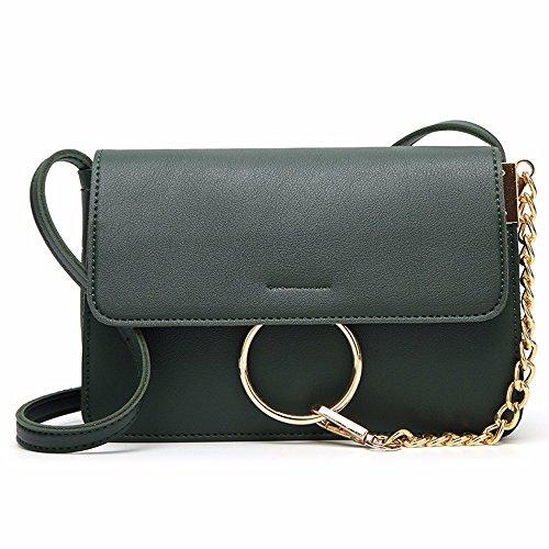 2018 popular PU damas casual bolso de hombro, bolso del mensajero, teléfono móvil pequeño paquete,Gray Verde