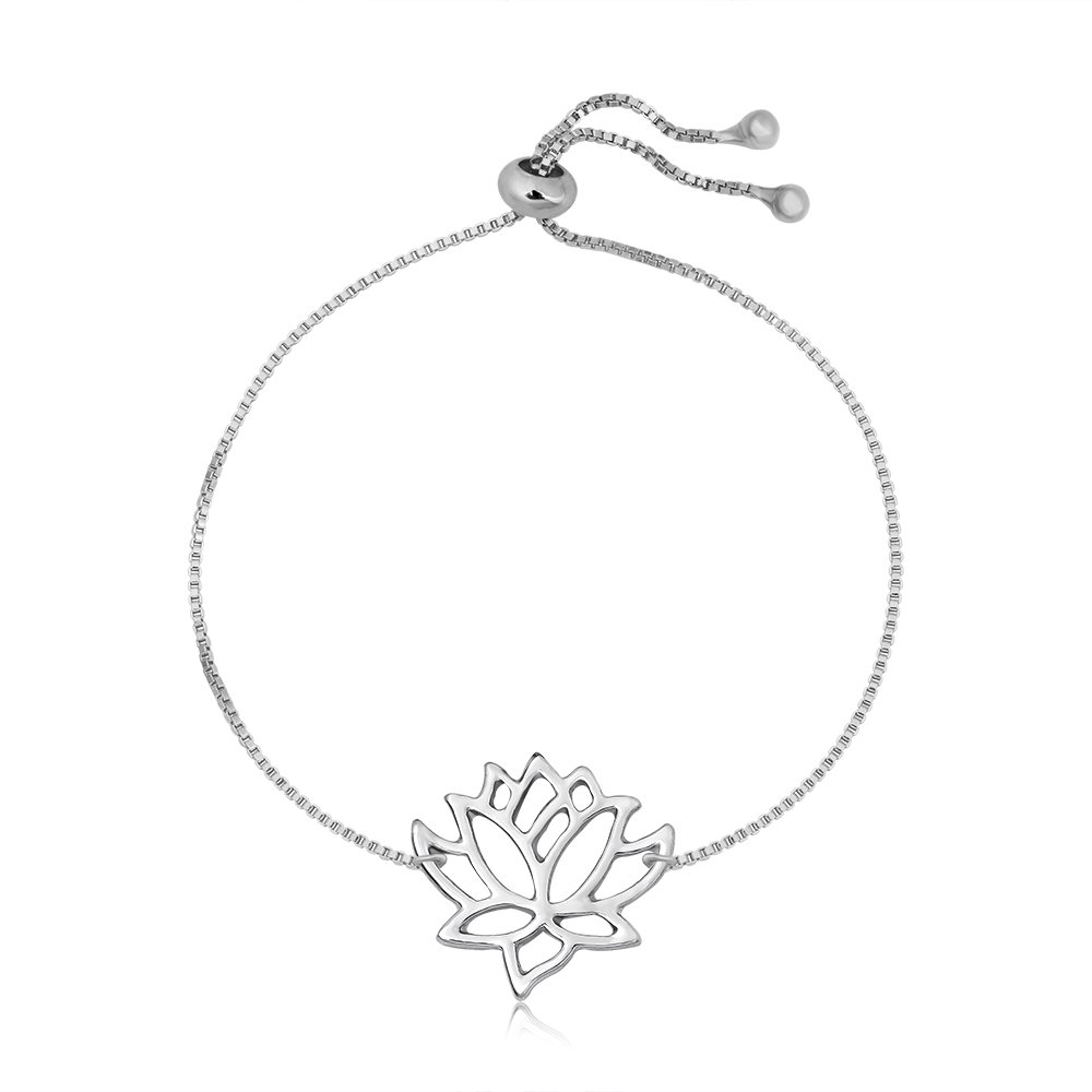 SENFAI Lotus Flower Bracelet for Women Elegant Vivid Hand Accessory for Women Adjustable 9'' (Silver)