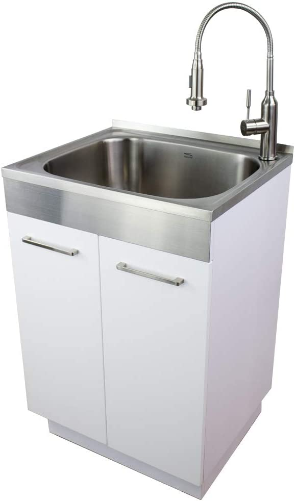 Transolid TCAB-2420-WS 24-in Laundry Cabinet Sink, Stainless Steel High Arc Faucet, and Basket, White