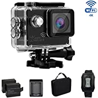 KAMRE 4K WIFI Sports Action Camera Waterproof DV Camcorder with Novatek Chipset and 16MP SONY Sensor/2 Rechargeable 1050mAh Batteries, Travelling Bag Include Practical Accessories