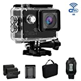 KAMRE 4K Ultra HD WIFI Sport Action Camera 16MP SONY Sensor Waterproof DV Camcorder with 170 Degree Wide Angle/2 inch LCD/2.4G Remote Control/2x1050mAh Batteries/Portable package/Full Set Accessories Action Cameras KAMRE