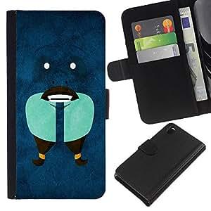 A-type (Funny Face Abstract) Colorida Impresión Funda Cuero Monedero Caja Bolsa Cubierta Caja Piel Card Slots Para Sony Xperia Z3 D6603