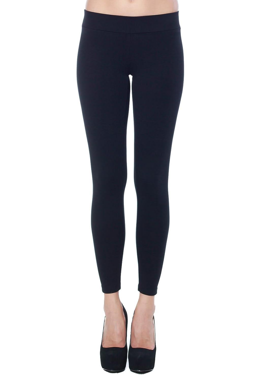 A+D Womens Full Length Cotton Stretch Knit Ponte Legging Pants