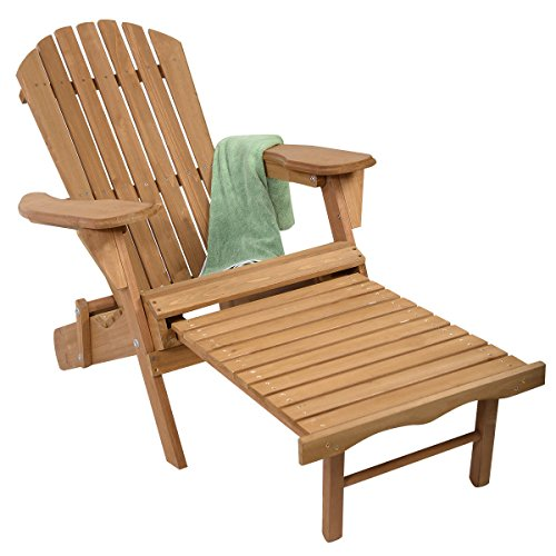 GJH One Adirondack Chair Patio Deck Garden Outdoor Foldable Wood Pull-Out Ottoman