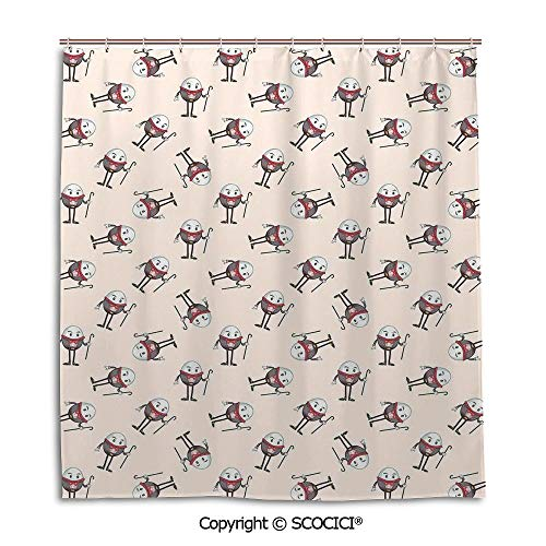 SCOCICI Bath Curtain Suit Bathroom Waterproof Curtain Shower Curtain,66X72in,Alice in Wonderland,Humpty Dumpty Egg Dancing Character Fairy Alice Fantasy Decor,Pink Brown Red,Used for Bathing Privacy ()
